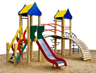 The wooden playground isolated on the white