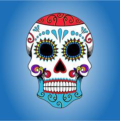 mexican skull bone cartoon illustration