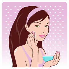 Vector illustration of a beautiful young woman applying moisturizing cream on her face.