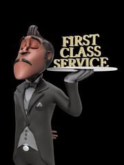 First Class Service Butler Illustration