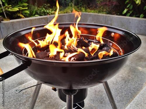 flammen und feuer aus grill bei gartenparty imagens e fotos de stock royalty free no fotolia. Black Bedroom Furniture Sets. Home Design Ideas