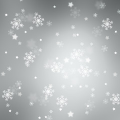 Blurry silver abstract snowflake Christmas and New Year illustration with copy space background