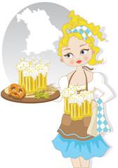 Ragazza con Birra e Simboli di Oktoberfest