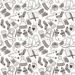 Hand drawn doodle sketch seamless pattern. Winter fashion.