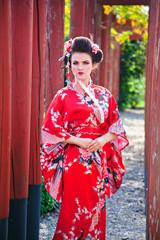 Young beautiful woman in geisha costume