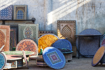 Moroccan mosaic tile traditional table tops and fountains. Fez, Morocco