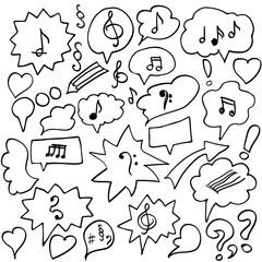 Set of vector doodle drawing symbols