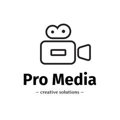 Vector trendy line style camera logo. Media business logotype