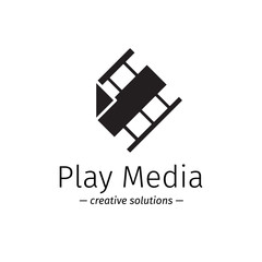 Vector film logo with play sign. Media business minimalistic