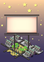 illustration of info graphic billboard urban city concept in isometric graphic