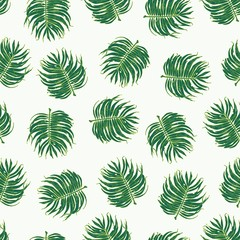 Floral Palm Leaf Seamless Pattern