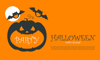 Halloween Party Design template, with pumpkin, bats and place