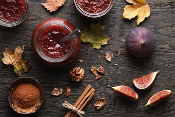Fig jam autumn still life
