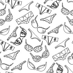 Lingerie seamless pattern. Vector underwear background design. Outline hand drawn illustration. Bras and panties fashion doodle