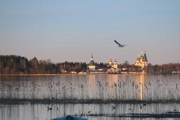 The Valdayskoe Lake with Valday Iversky Monastery