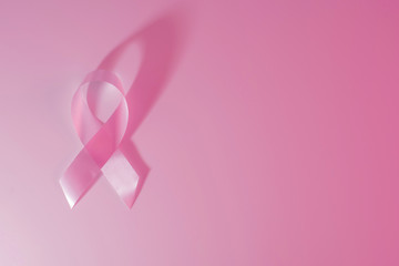 Breast cancer awareness ribbon pink background