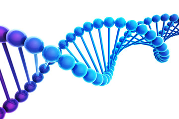 Blue DNA Helix on white background