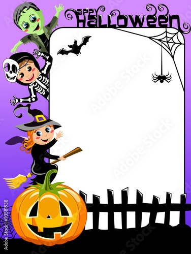 Vertical Halloween Frame with children in costume\