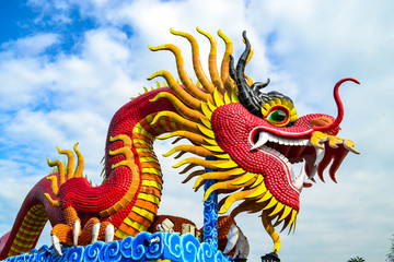 Red dragon with blue sky