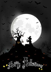 Halloween background on the full moon with scary tree and Witch