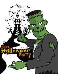 Hand Drawn of Halloween party poster,invitation with Frankenstei