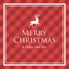 Christmas card with deer, logo title and gingham pattern background. Editable vector design.