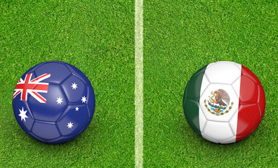 Team balls for Australia vs Mexico soccer tournament match