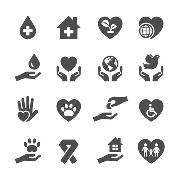 charity and donation icon set 3, vector eps10