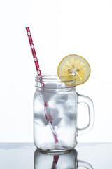 glass of lemonade and ice