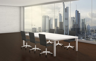 office room with skyline in the background