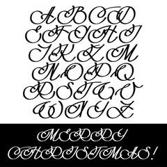 Calligraphy Alphabet Set. Headline Cursive Letters