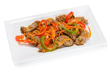 Salad of chicken gizzards and spices