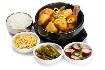 Boiled potatoes with chicken with spicy salads