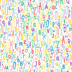 Colorful Different Letters. Alphabet Seamless Pattern. Hand-draw
