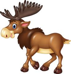 Cartoon moose happy moose isolated on white background