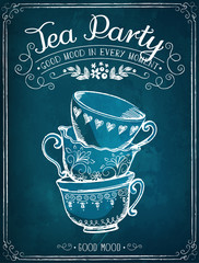 Invitation to the Tea Party. Retro illustration Tea Party with c