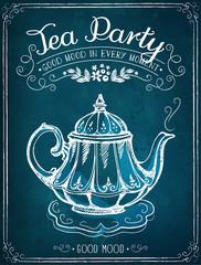 Retro illustration Time for tea with teapot