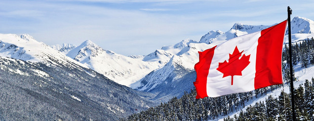 Foto auf Acrylglas Kanada Canada flag and beautiful Canadian landscapes