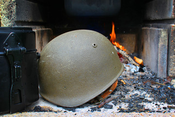 world war 2, fire, helmet