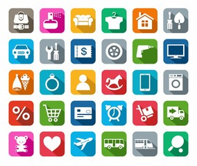 Icons, online store, categories of products, colored background, shadow.
