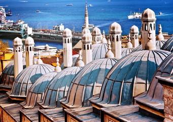 Roofs of the bath behind Suleymaniye Mosque. Istanbul