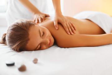 Deurstickers Spa Body care. Spa body massage treatment.