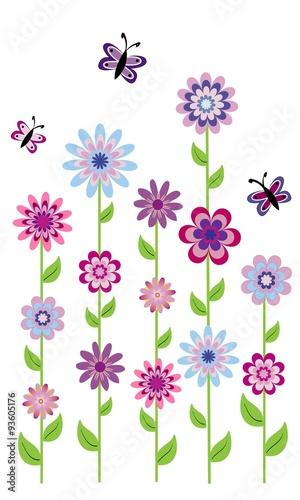 Flores Con Tallo Largo Y Mariposas 3 Stock Image And Royalty Free