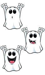 Cartoon Ghost Character - Set 4