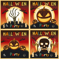 Happy Halloween card. background Flat design. Vector illustration kids text