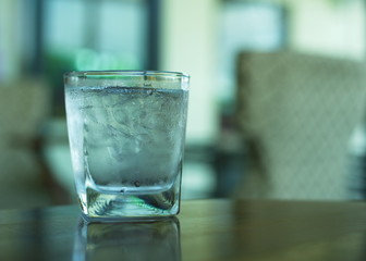 cold water in clear glass with ice