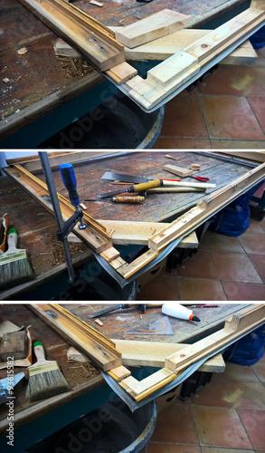 handwerk reparaturarbeiten an einem holzfenster werkzeuge auf einer holzbank in der werkstatt. Black Bedroom Furniture Sets. Home Design Ideas