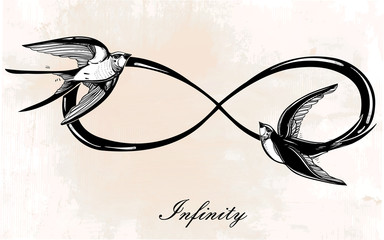 Infinity symbol with swallow illustration.