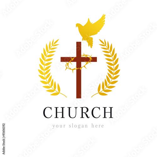 dove cross thorns church logo template logo for the church in the