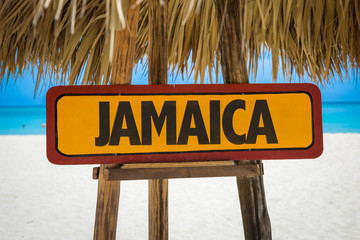 Jamaica sign with beach background